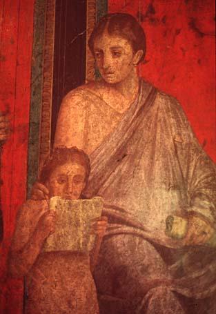 045. Fresque pompeienne - enfant lisant a cote de sa mere (1er s. p.C.)